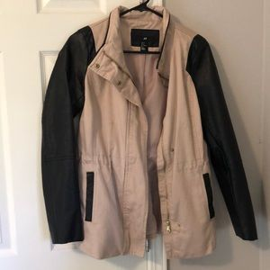 H & M Blush Jacket with Pleather Sleeves